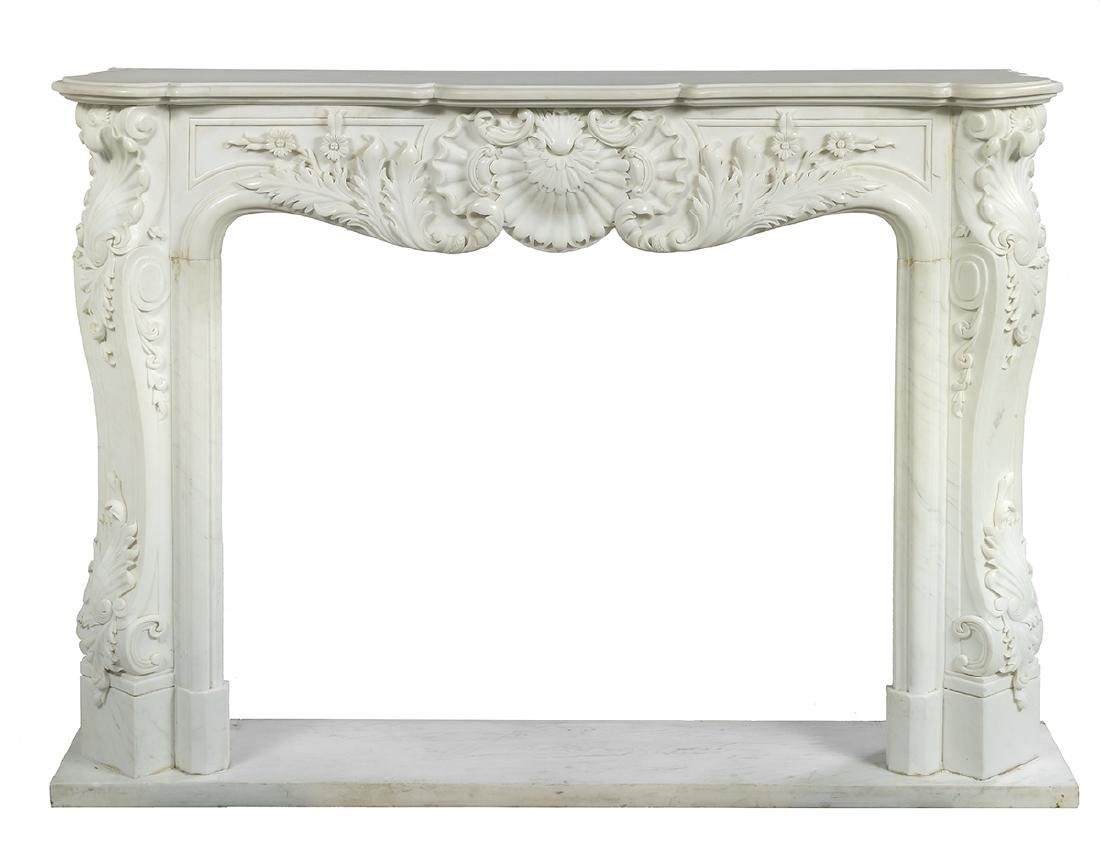 Louis XV-Style Marble Fireplace Surround