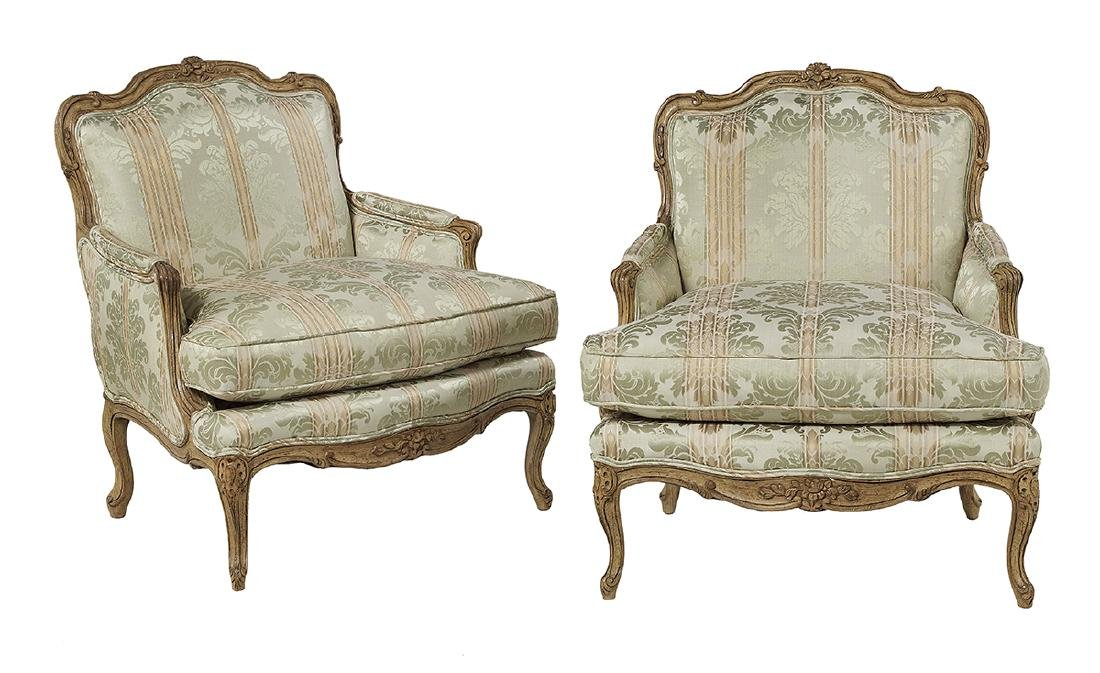 Pair of Louis XV-Style Oak Bergeres