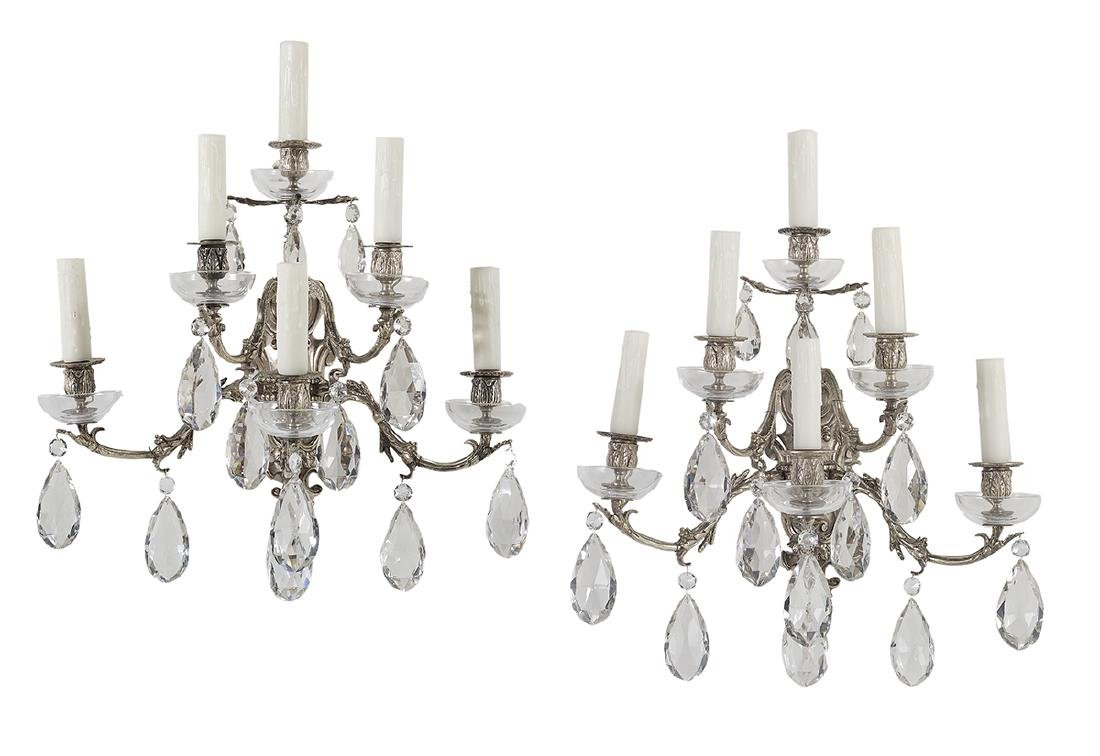 Pair of French Rococo-Style Silver-Plated Sconces