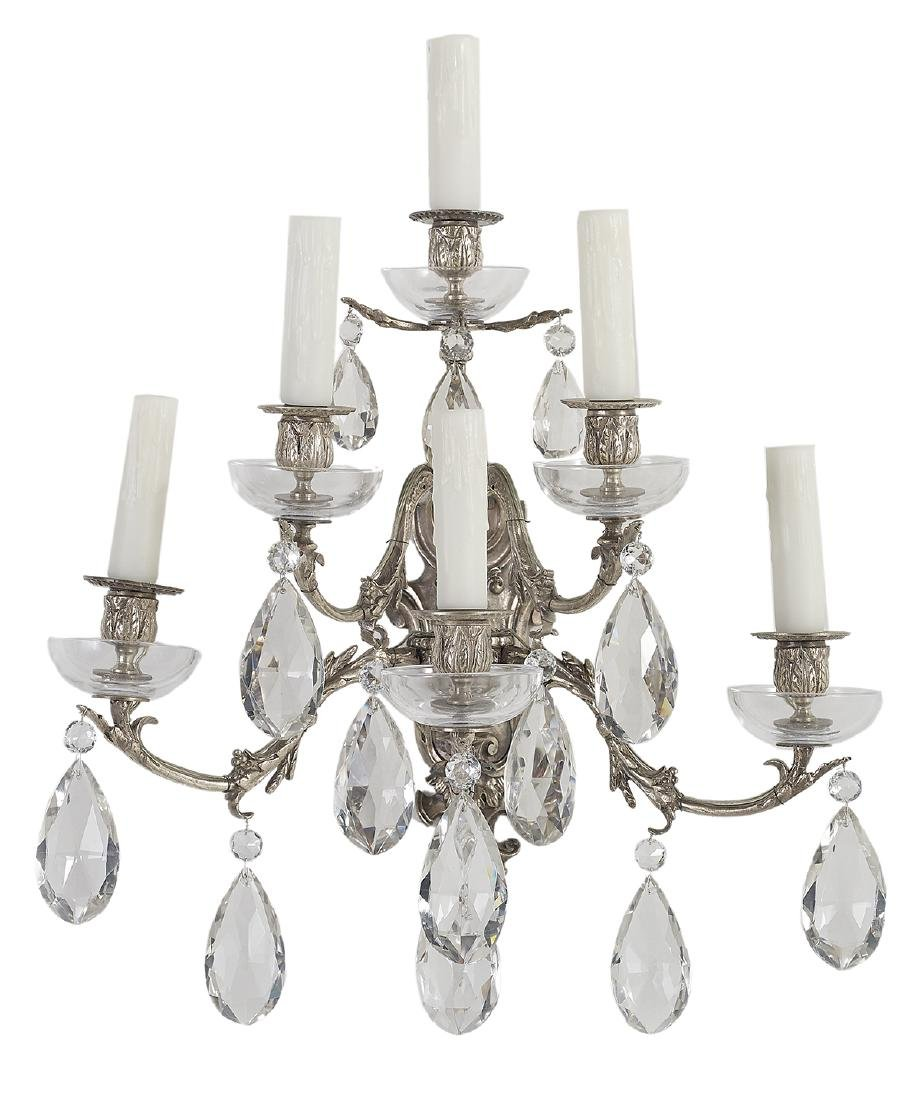 Pair of French Rococo-Style Silver-Plated Sconces - 2