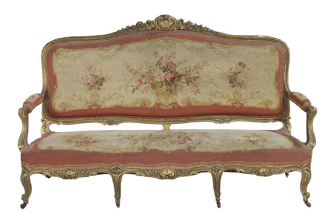 Five-Piece Louis XV-Style Giltwood Parlor Suite