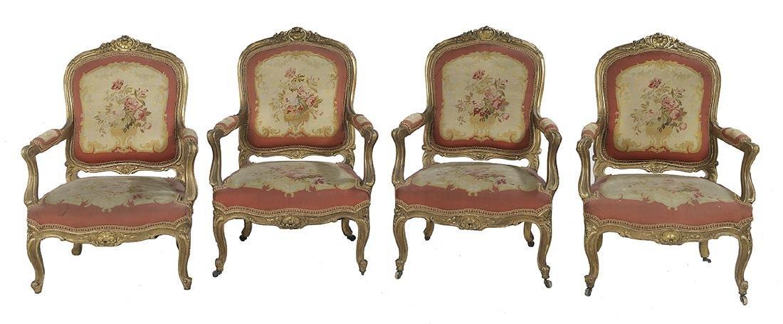 Five-Piece Louis XV-Style Giltwood Parlor Suite - 2