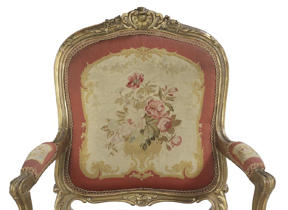 Five-Piece Louis XV-Style Giltwood Parlor Suite - 3