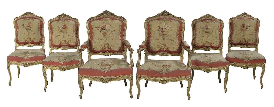 Six-Piece Louis XV-Style Giltwood Salon Suite