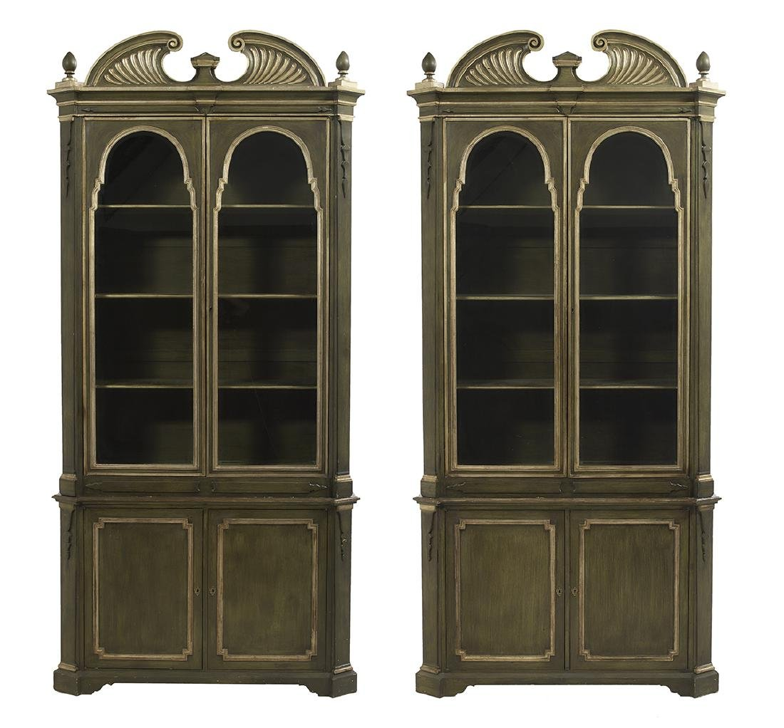 Pair of Italian Parcel-Gilt Cabinets