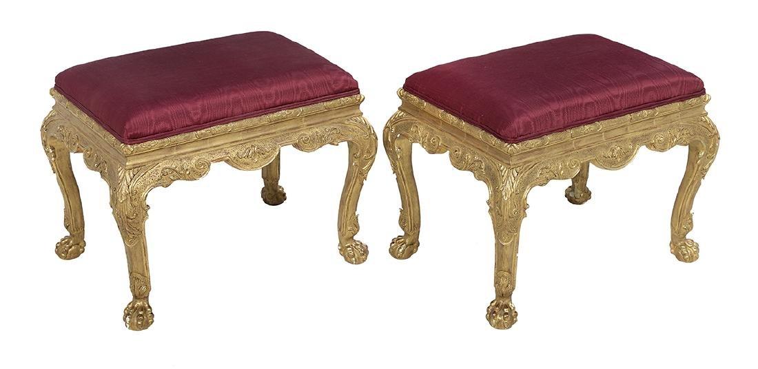 Pair of George III-Style Giltwood Stools