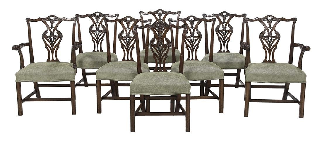Eight George III-Style Mahogany Dining Chairs