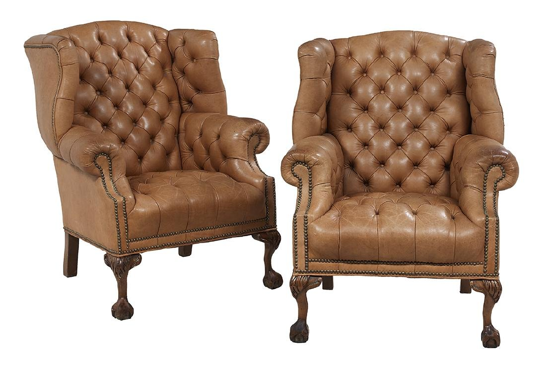 Pair of George III-Style Leather Wing Chairs