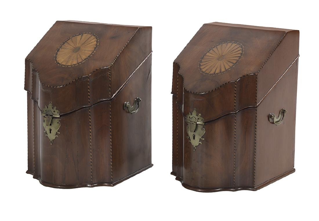 Pair of George III Mahogany-Inlaid Knife Boxes