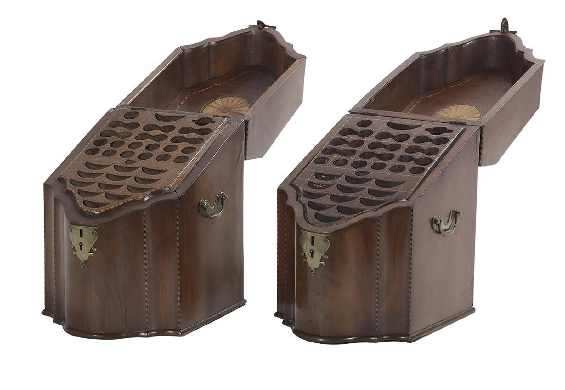 Pair of George III Mahogany-Inlaid Knife Boxes - 2