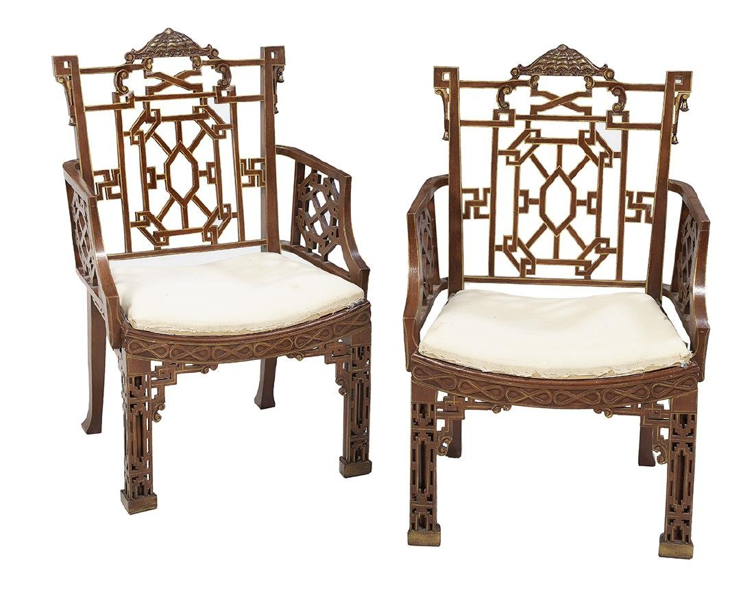 Pair of Chinoiserie Parcel-Gilt Armchairs