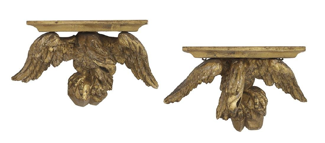 Pair of William IV Giltwood Brackets