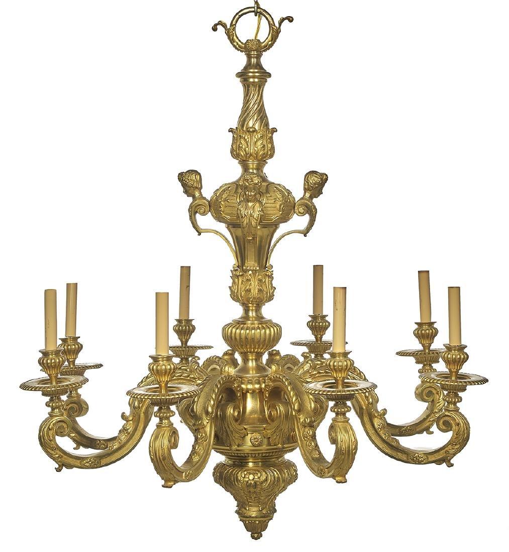 French Baroque-Style Gilt-Bronze Chandelier