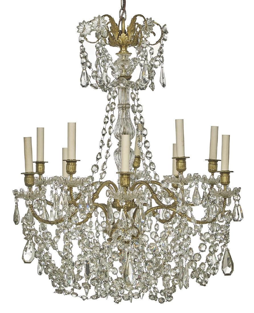 Handsome French Bronze and Crystal Chandelier