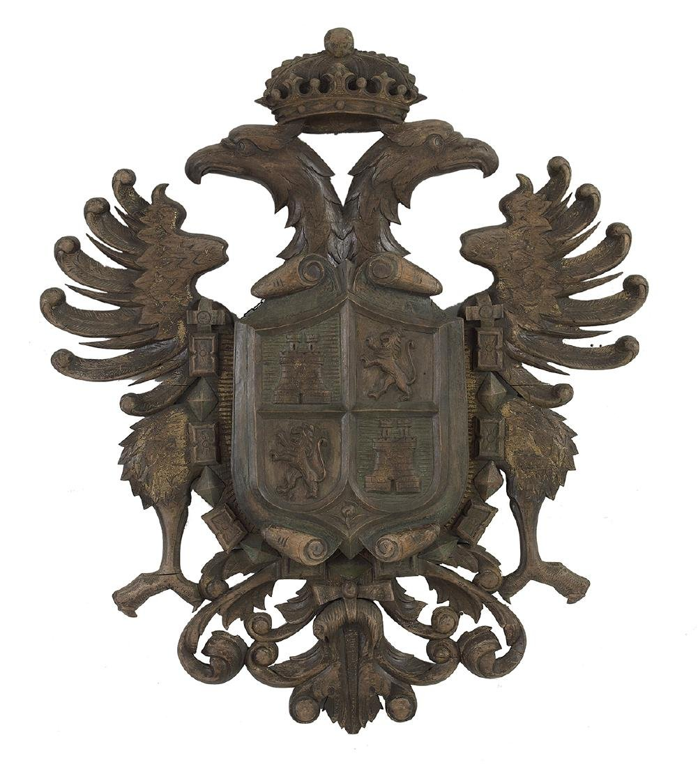Continental Carved and Painted Armorial Device