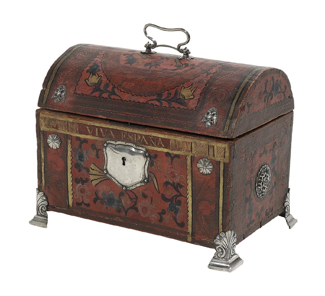 Spanish Colonial Silver-Mounted Painted Casket