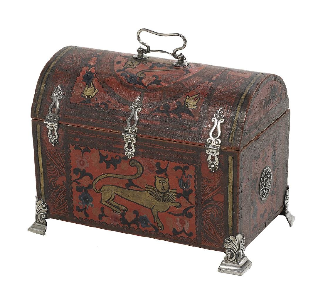 Spanish Colonial Silver-Mounted Painted Casket - 2