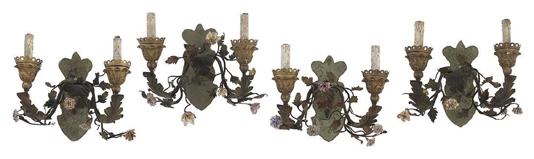 Four Continental Porcelain and Metal Sconces