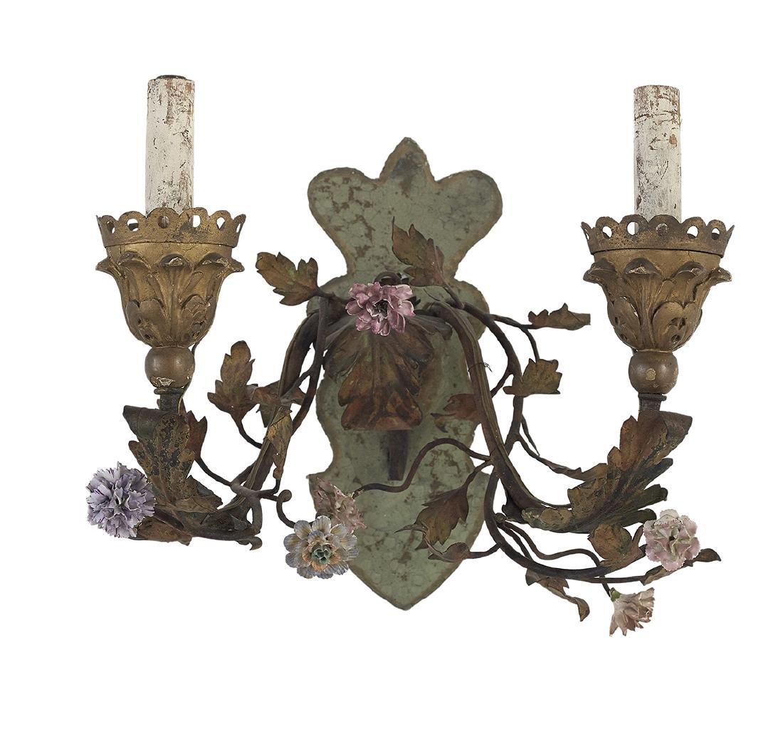 Four Continental Porcelain and Metal Sconces - 3