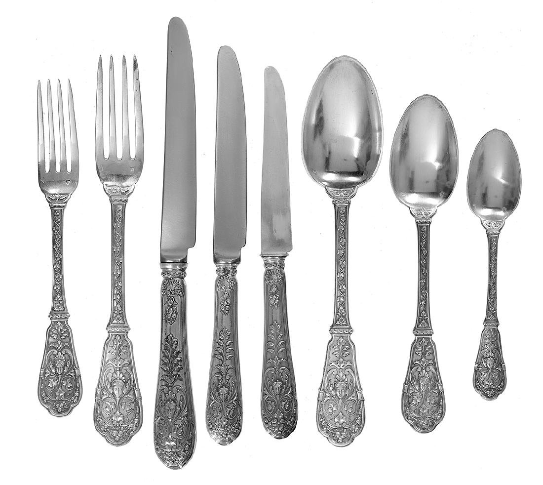 """French """"Chateaubriand"""" Silver Flatware Set - 4"""