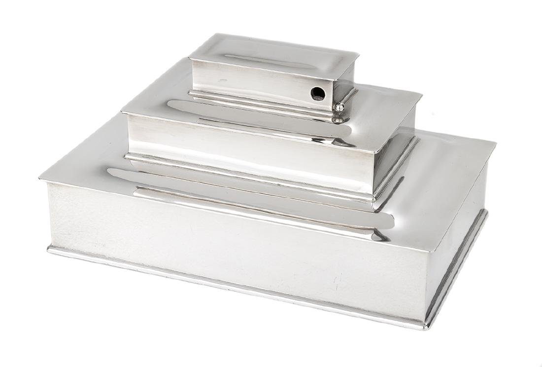 Tiffany Sterling Tiered Cigar and Cigarette Box