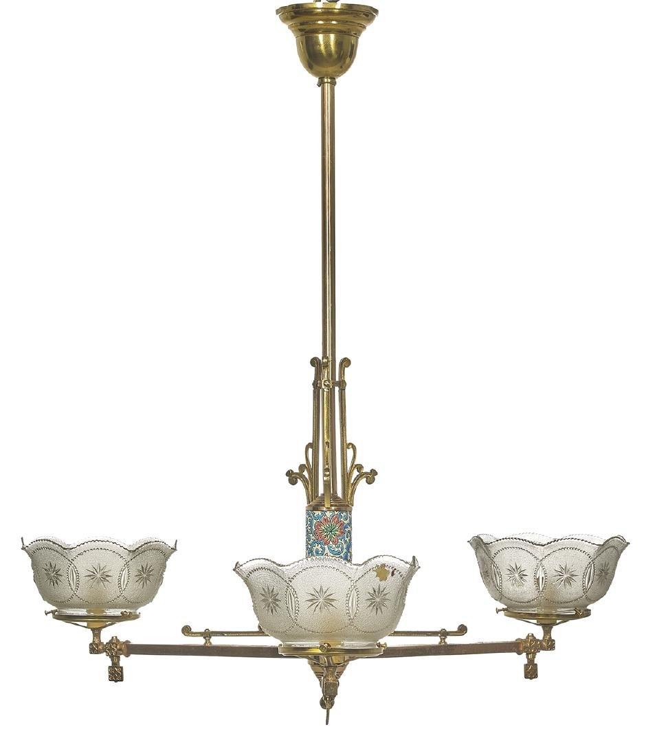 American Gilt-Bronze & French Pottery Chandelier