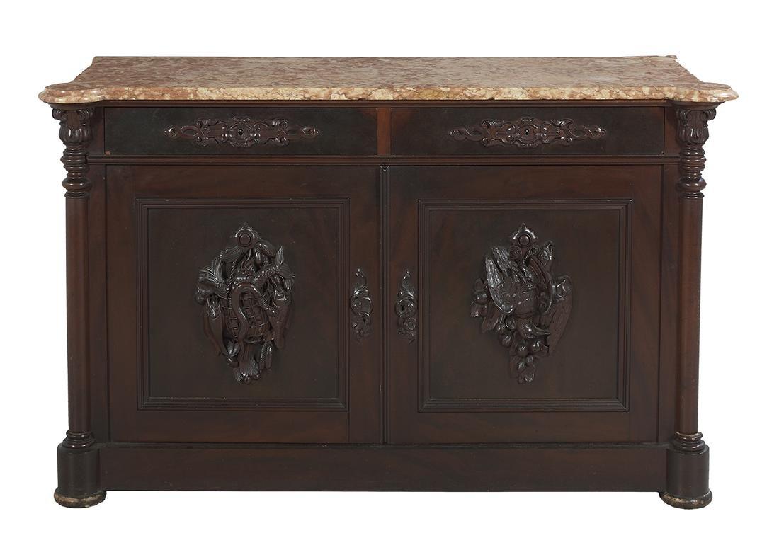 American Rococo Revival Marble-Top Cabinet