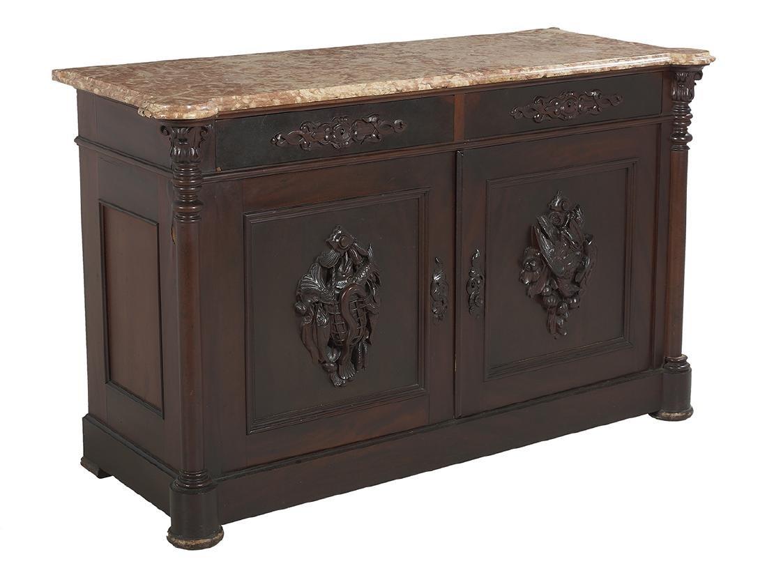 American Rococo Revival Marble-Top Cabinet - 2