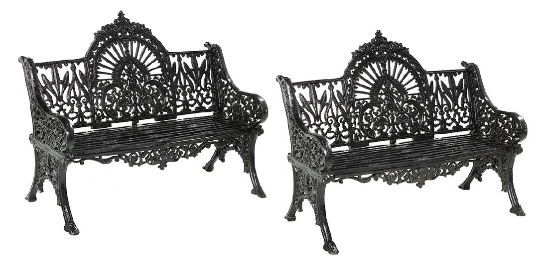 Pair of Victorian-Style Cast Iron Garden Benches