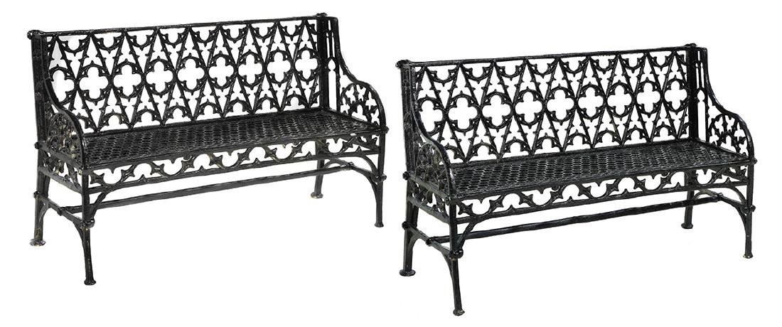 Pair of Gothic-Style Cast Iron Garden Benches