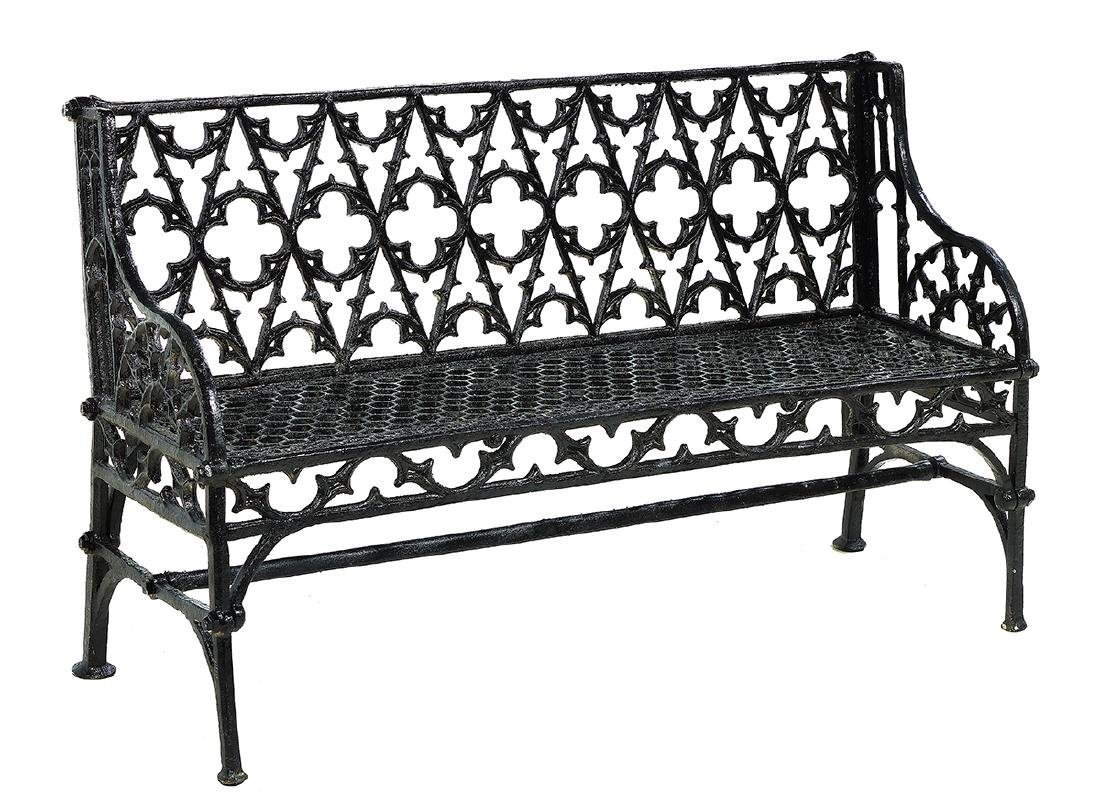 Pair of Gothic-Style Cast Iron Garden Benches - 2