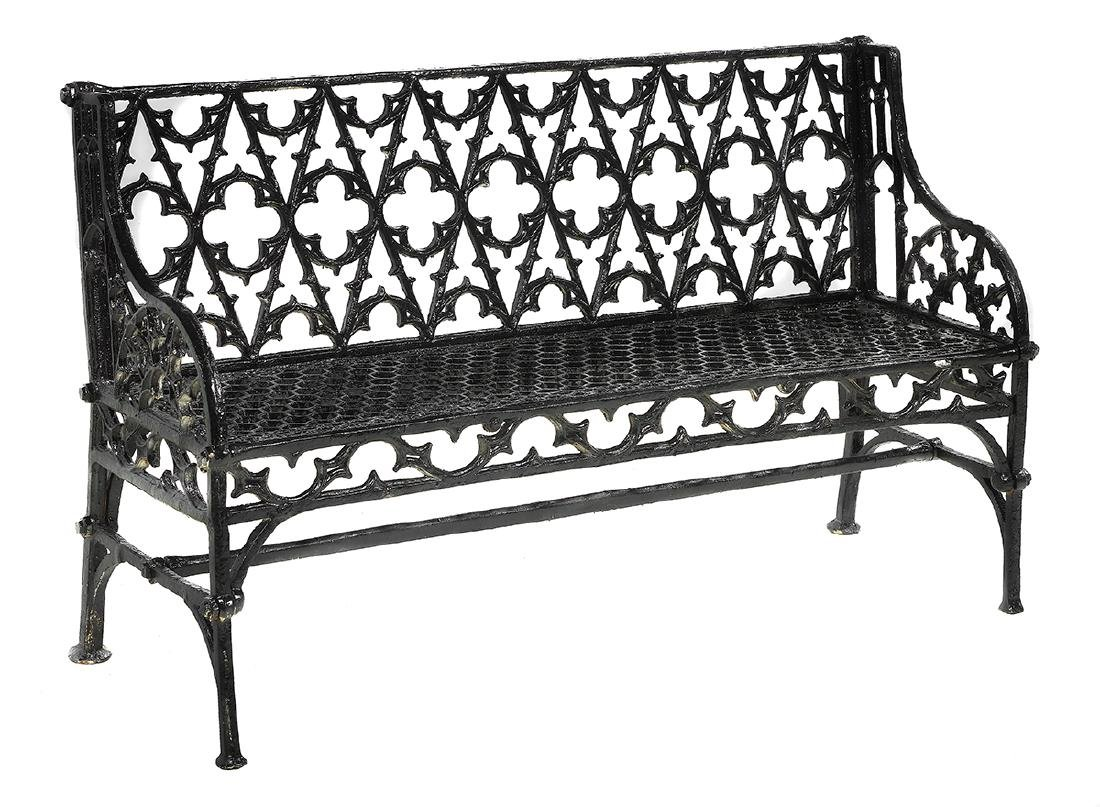 Pair of Gothic-Style Cast Iron Garden Benches - 3