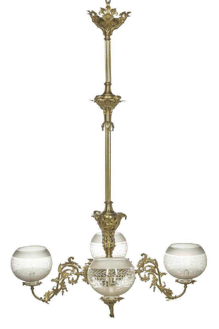 American Bronze Rococo Revival Gasolier