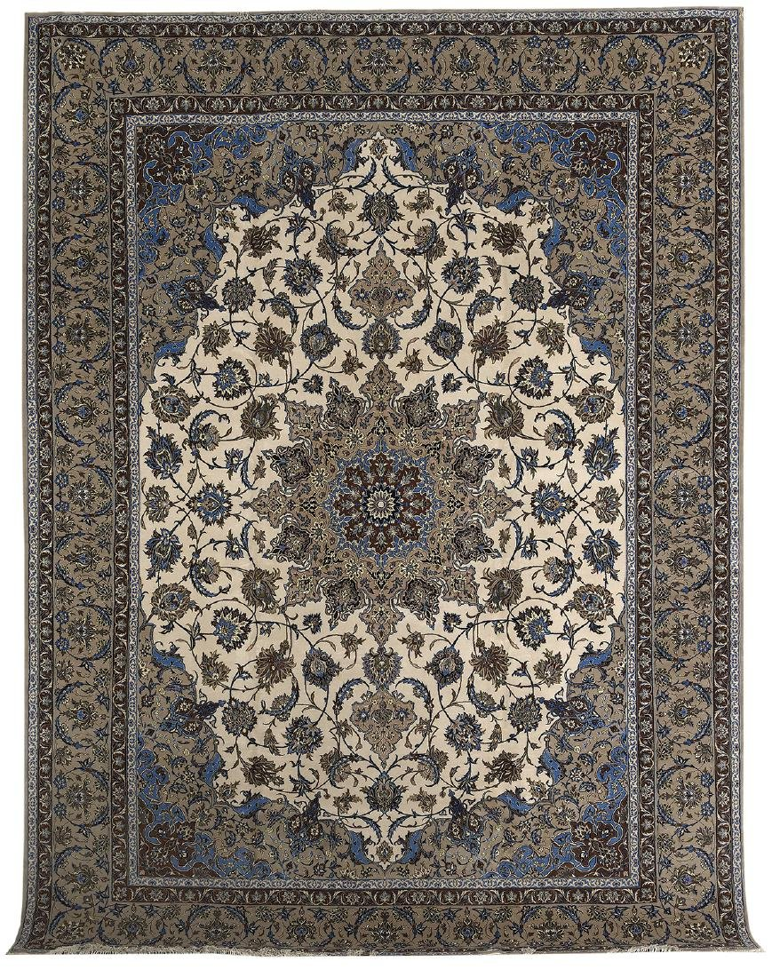 Semi-Antique Silk and Wool Isfahan Carpet