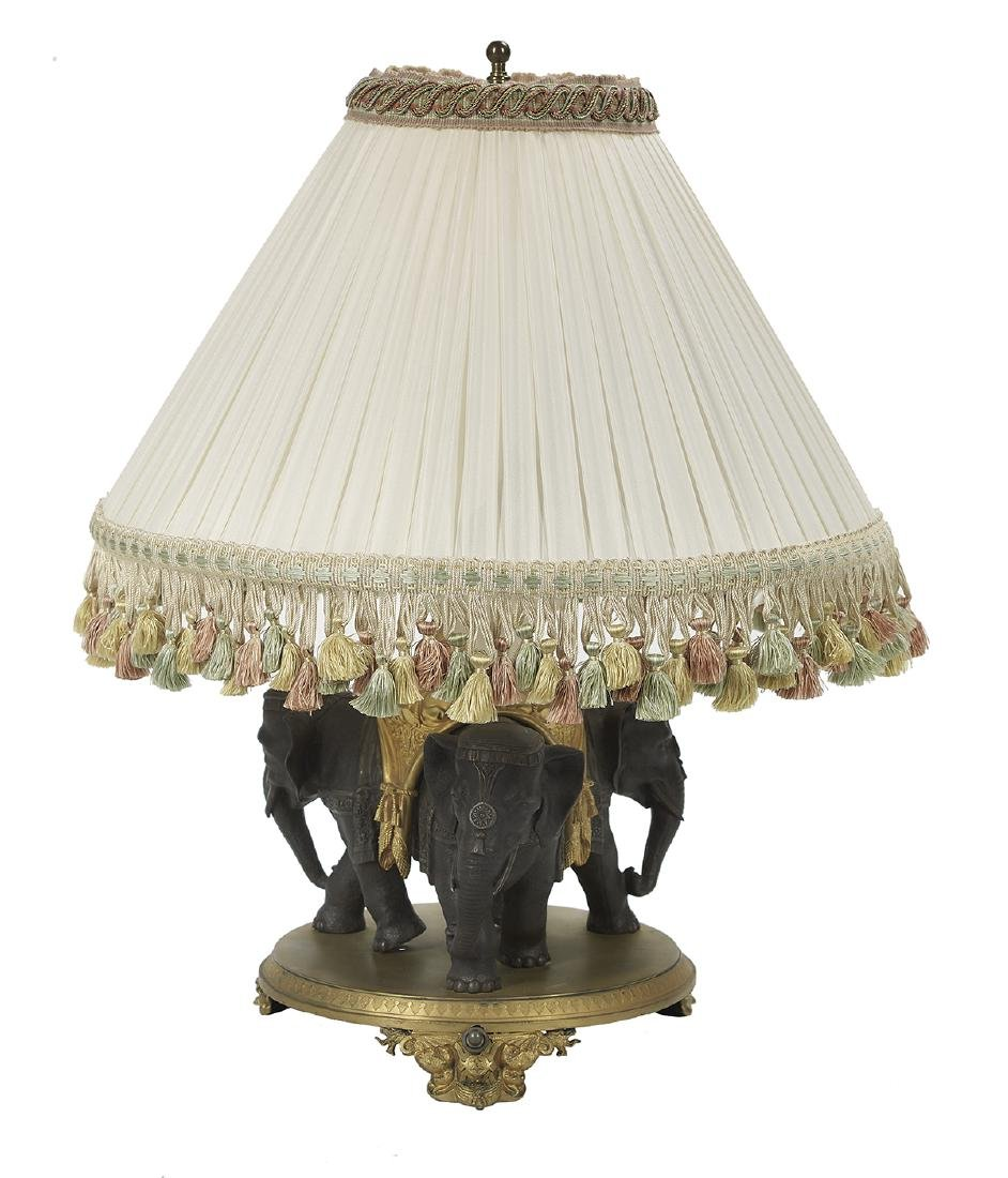 Gilt-Bronze and Patinated Metal Table Lamp