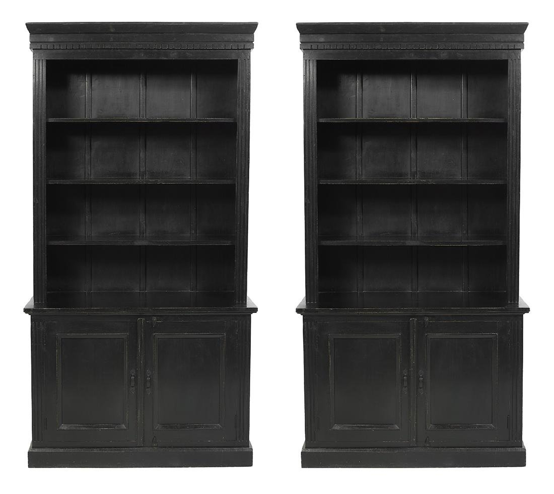 Pair of Georgian-Style Polychrome Bookcases
