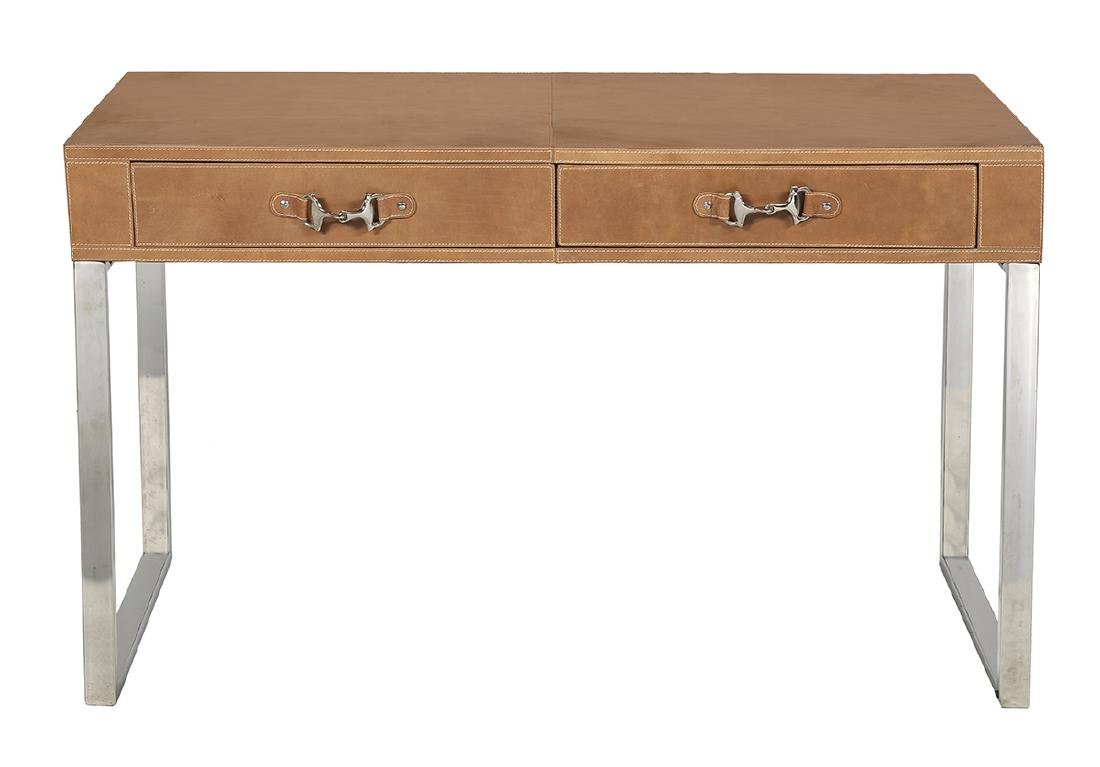 Interesting Chrome and Leather Writing Desk