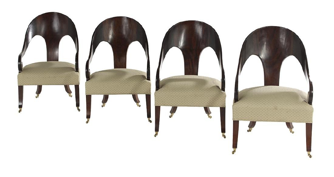 Four Contemporary Biedermeier-Style Armchairs