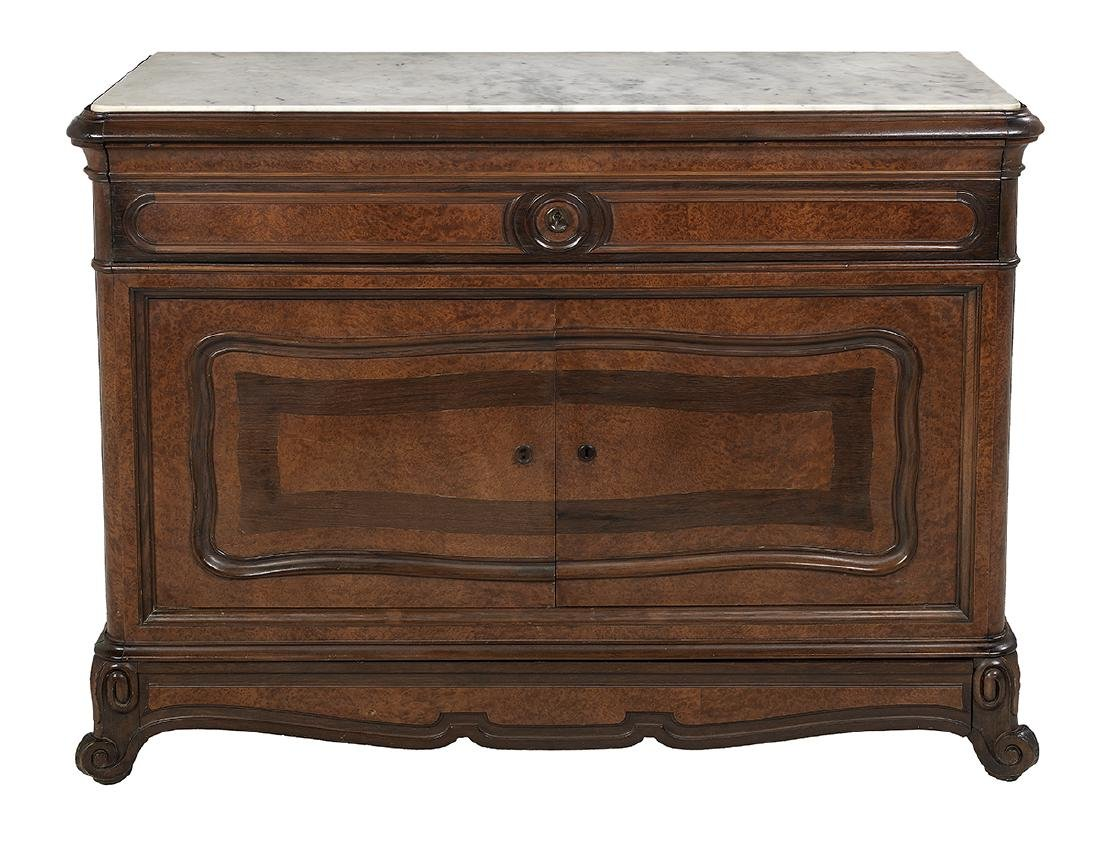 Louis-Philippe Rosewood and Marble-Top Commode
