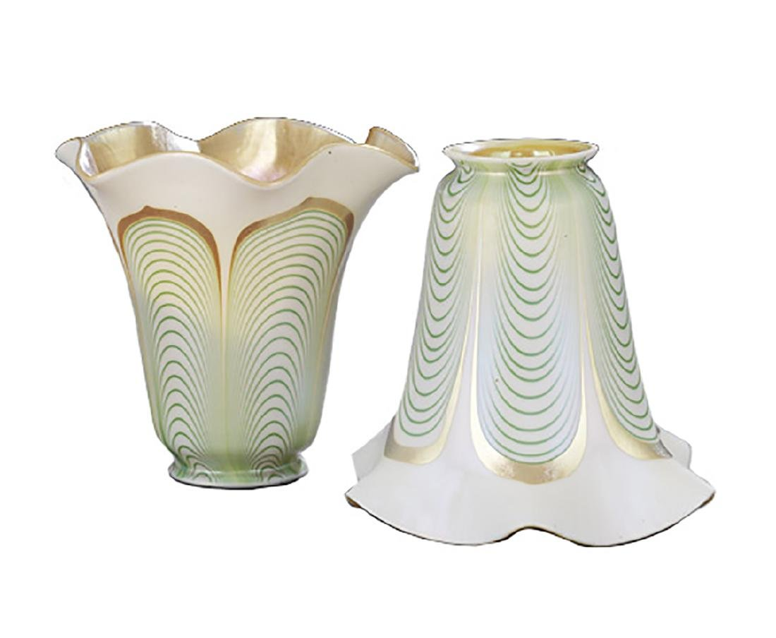 Pair of Steuben Pulled Feather Art Glass Shades