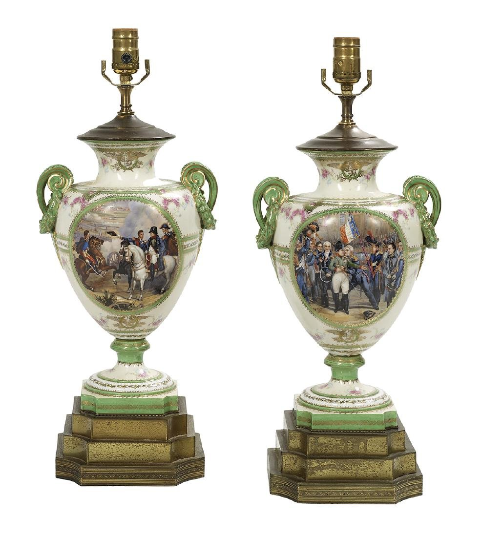 Pair of French Porcelain Urn Table Lamps