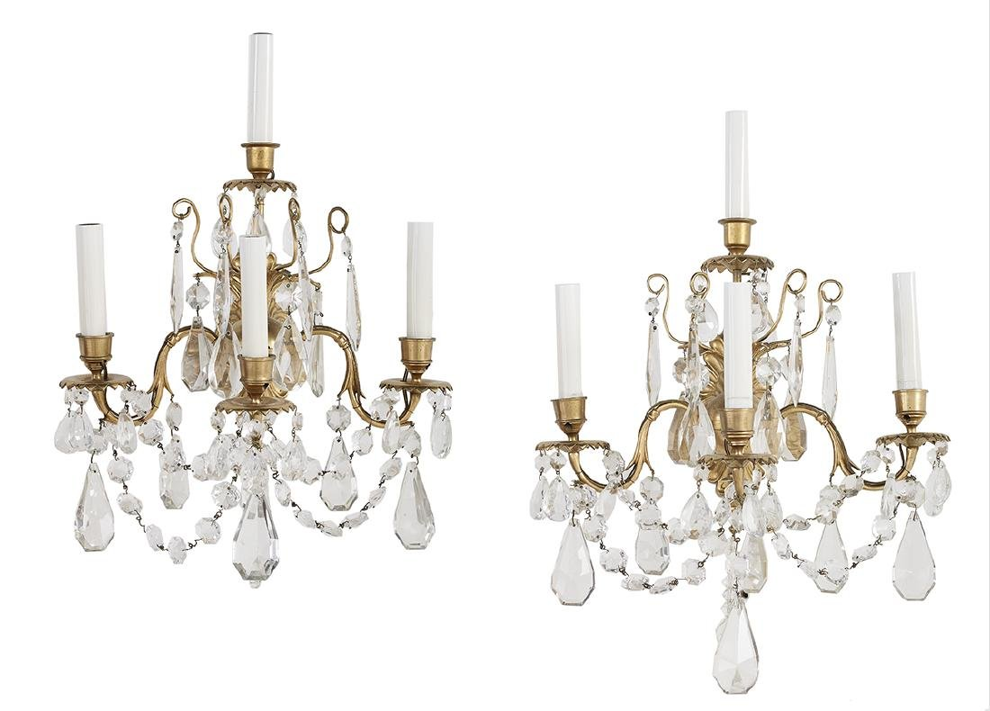 Pair of Louis XIV-Style Brass and Glass Sconces