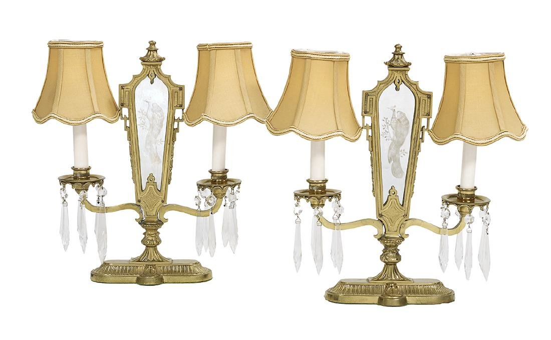 Pair of Chinoiserie-Style Two-Light Candelabra