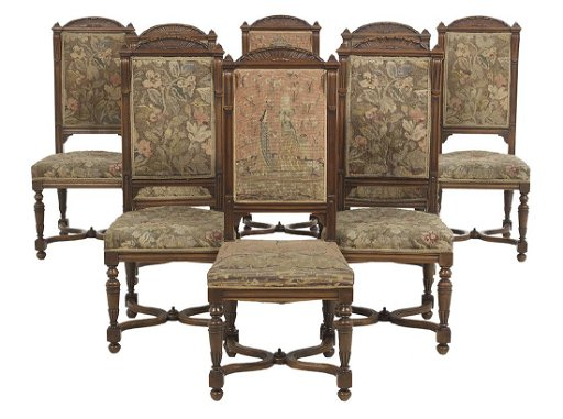 Admirable Eight Louis Xiv Style Walnut Dining Chairs Alphanode Cool Chair Designs And Ideas Alphanodeonline