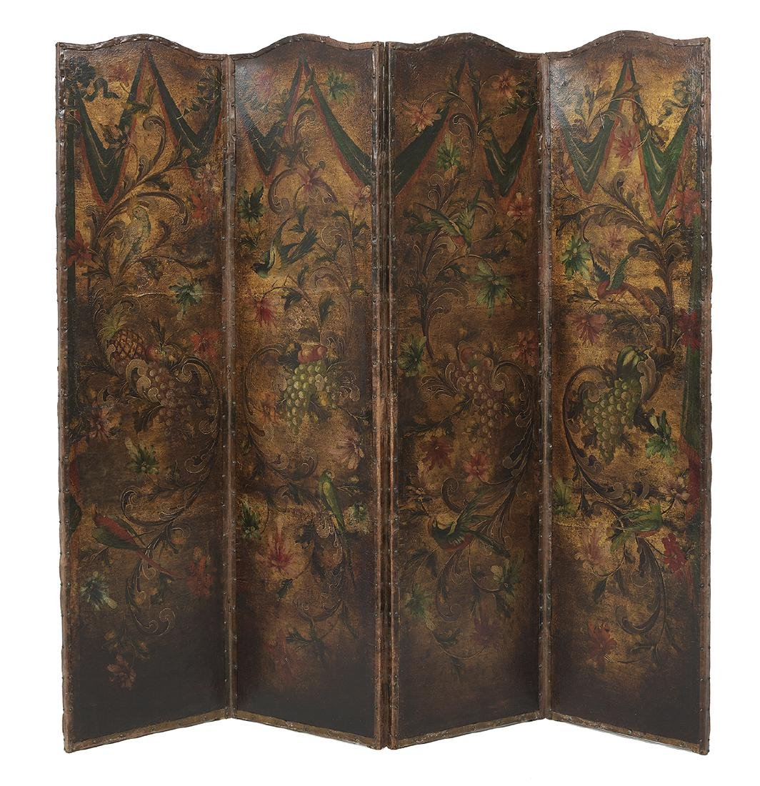 FrenchPainted Leather Four-Panel Folding Screen