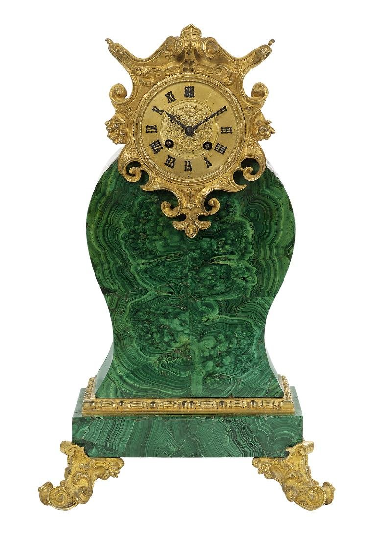 Louis-Philippe Malachite and Bronze Mantel Clock