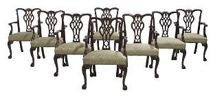 Eight Chippendale-Style Mahogany Armchairs