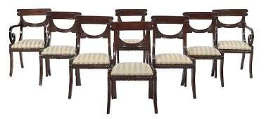 Eight Regency-Style Mahogany Dining Chairs