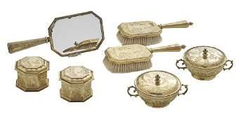 George VVI Silver Gilt Chinoiserie Dresser Set