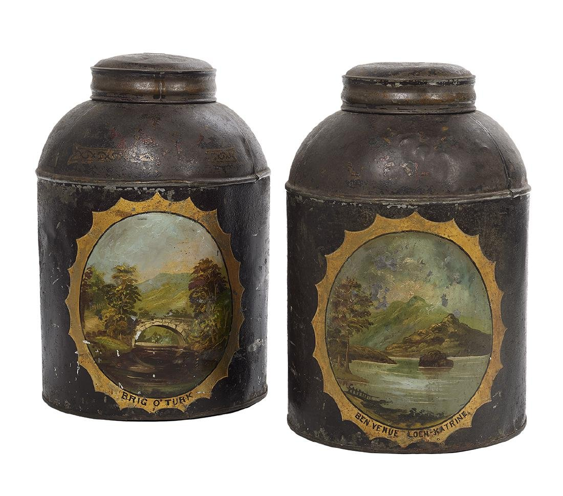 Pair of Scottish Hand-Painted Tole Tea Canisters